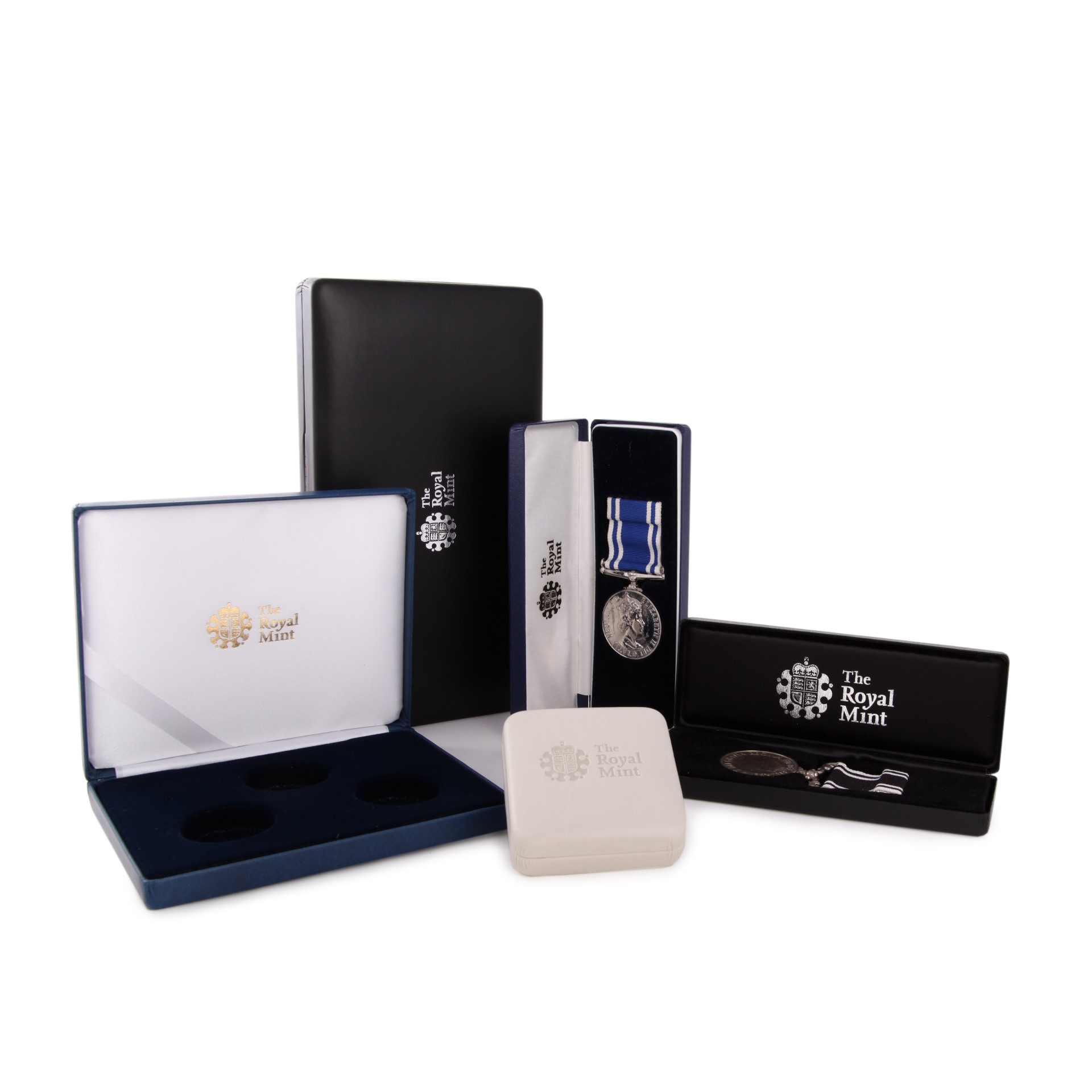 The Royal Mint Black and White Coin and Medal Boxes